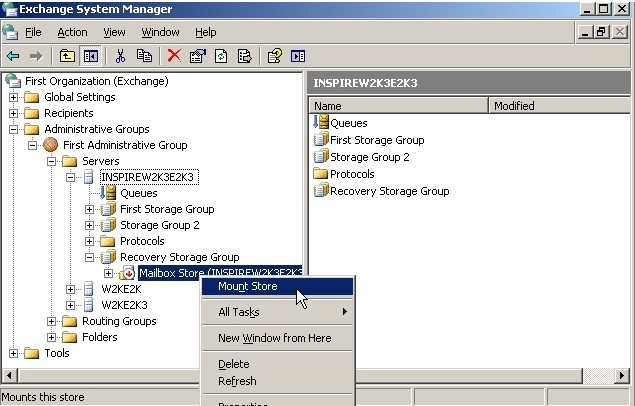 Copy Exchange Database and Mount it to New Server